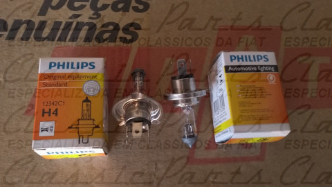 PAR LAMPADAS H4 PHILIPS FAMILIA FIAT 147/UNO ORIGINAL