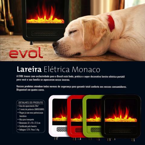 Lareira Elétrica Modelo Monaco Preta (Portátil) - Evol