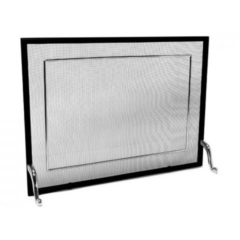 Tela Para Lareira Em Ferro Com Latão Cromado Escovado - 80x60 Cm
