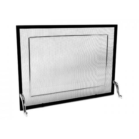 Tela Para Lareira Em Ferro Com Latão Cromado Polido - 70x50 Cm