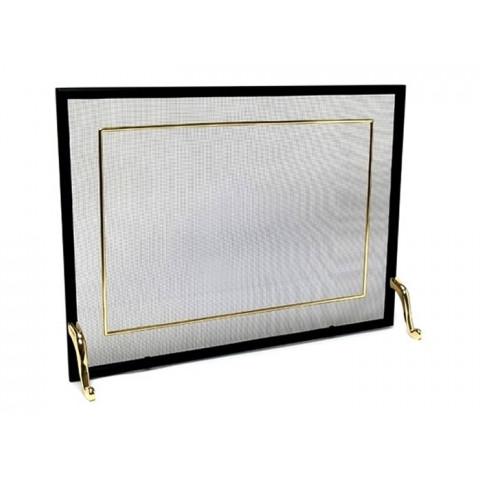 Tela Para Lareira Em Ferro Com Latão Dourado - 70x50 Cm