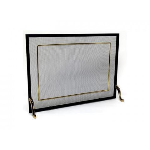 Tela Para Lareira Em Ferro Com Latão Oxidado - 60x40 Cm