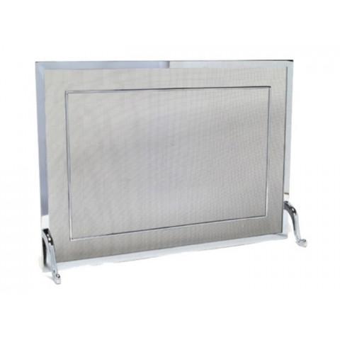 Tela Para Lareira Em Latão Cromado Escovado - 70x50 Cm