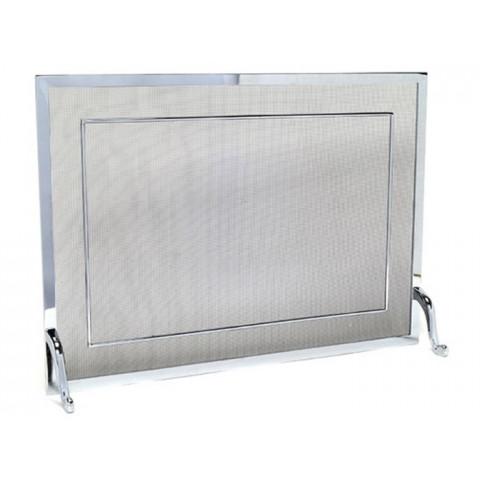 Tela Para Lareira Em Latão Cromado Polido - 80x60cm