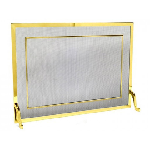 Tela Para Lareira Em Latão Dourado - 80x60 Cm