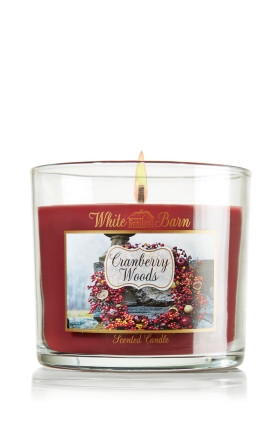 Vela White Barn Home Small Candle 4 oz./113g Bath & Body Works Cranberry Woods