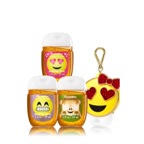 Antibacterial PocketBac Sanitizers Hand Gel Bath Body Works Emoji Monkey