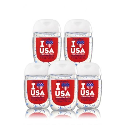 Anti-Bacterial Pocketbac Sanitizing Hand Gel Bath & Body I Heart USA - Firework Fizz