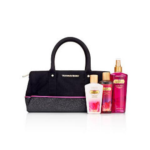 Bolsa Preta Pink em Tecido com Brilho Victoria's Secret (Não acompanha produtos)