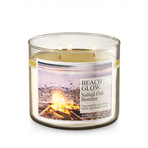 Vela White Barn 3-Wick 400g Candle Bath & Body Works Beach Glow - Salted Oak Bonfire