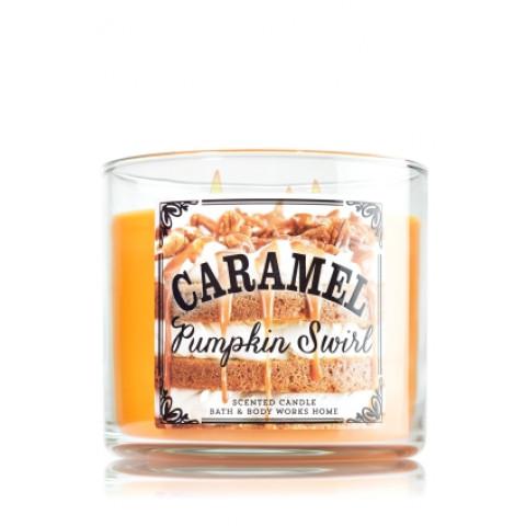 Vela White Barn 3 Wick Candle Bath Body Works Caramel Pumpkin Swirl