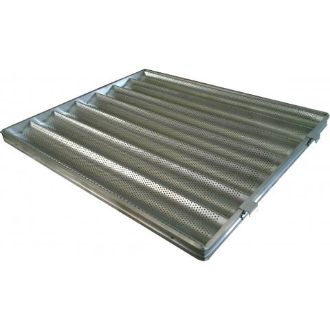 Assadeira para baguete canaletada 58x70 cm 7 ondas (Totalmente em Alumínio - Perfurada) Super Resistente