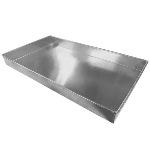 Forma Banho Maria 58,5x32x5,5 cm (Alumínio 1,0 mm) sem vazamento soldada e com arame de ferro