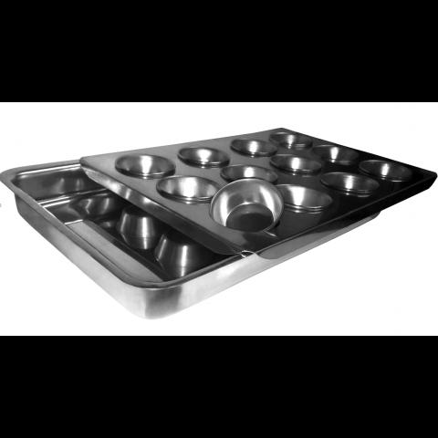 Forma banho maria quindim (Alumínio) com 12 forminhas