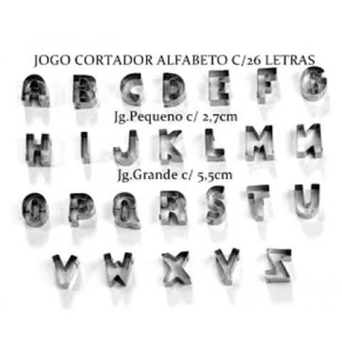 Jogo Cortador ALFABETO (Inox) 26 peças (Tamanhos: Pequeno / Grande)