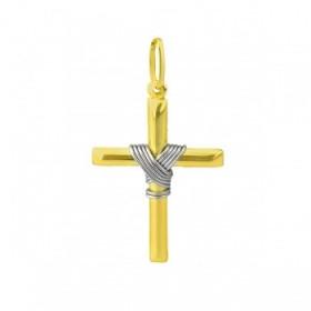 Pingente de Cruz em Ouro 18k-750 com detalhe em Ouro Branco