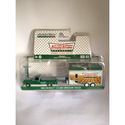 Greenlight - 1968 Chevrolet C 10 And Concession Trailer Verde - Hitch and Tow