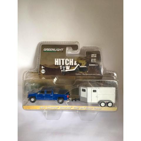 Greenlight - 2015 Chevrolet Silverado 1500 and Horse Trailer Azul/Branco - Hitch and Tow