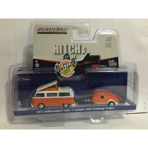 Greenlight - 1:64 - 1972 Volkswagen Type 2 Camper and Teardrop Trailer Laranja - Hitch and Tow - Exclusivo M&J Toys
