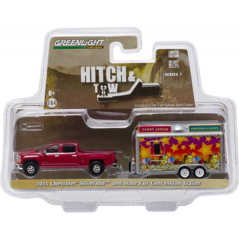 Greenlight - 1:64 - 2015 Chevrolet Silverado and State Fair Concession Trailer - Hitch and Tow