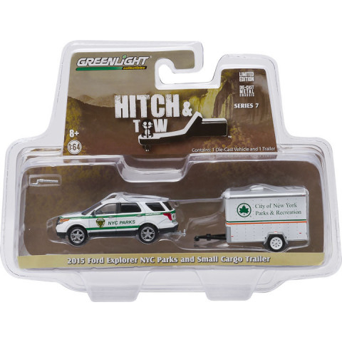 Greenlight - 1:64 - 2015 Ford Explorer NYC Parks and Small Cargo Trailer - Hitch and Tow