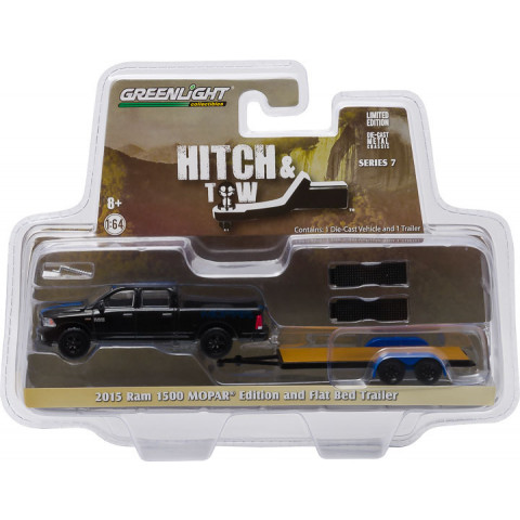 Greenlight - 1:64 - 2015 Ram 1500 MOPAR Edition and Flat Bed Trailer - Hitch and Tow