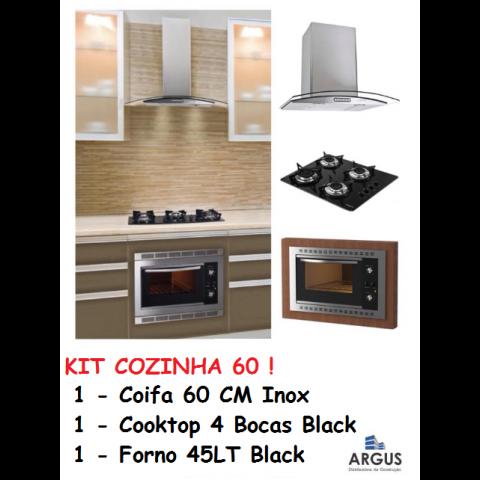 Kit Cozinha 60 : 1 Coifa Vidro 60cm + 1 CookTop Vidro 4 Bocas + 1 Forno Elétrico 45Lt Black