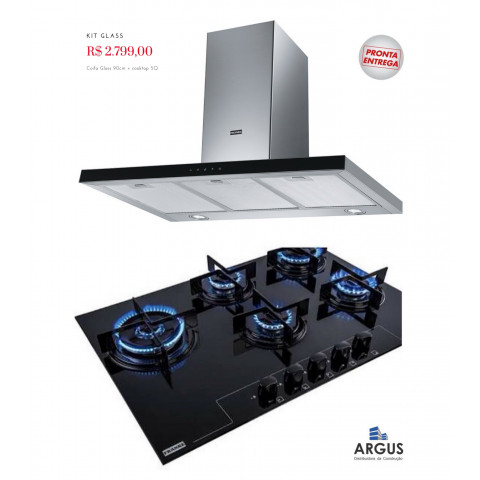 KIT GLASS + LINEA 90  - 1 Coifa Linea Touch 90 cm Franke + 1 Cooktop Glass 5 Bocas Franke