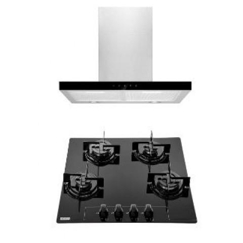 Kit Glass + Coifa 60 Linea: 1 Coifa Parede Vidro 60cm + 1 CookTop Vidro 4 Bocas