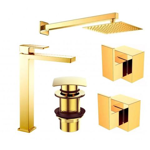 Kit Banheiro Gold 5 pçs. (Bica Alta)