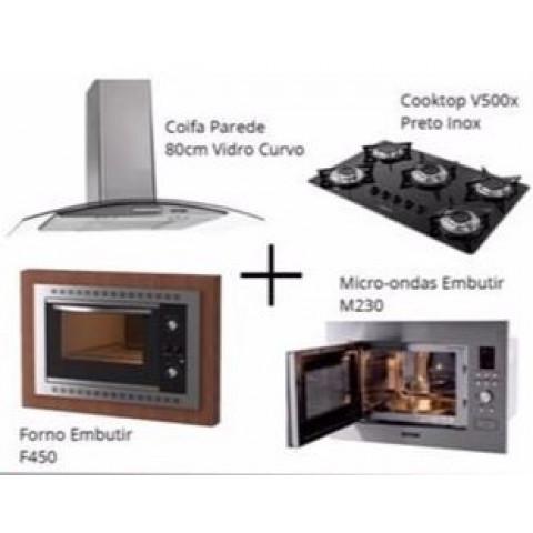 Kit Cozinha 80: 1 Coifa Vidro 80cm + 1 CookTop Vidro 5 Bocas + 1 Forno Elétrico 45Lt Black + 1 Micro-ondas embutir M230