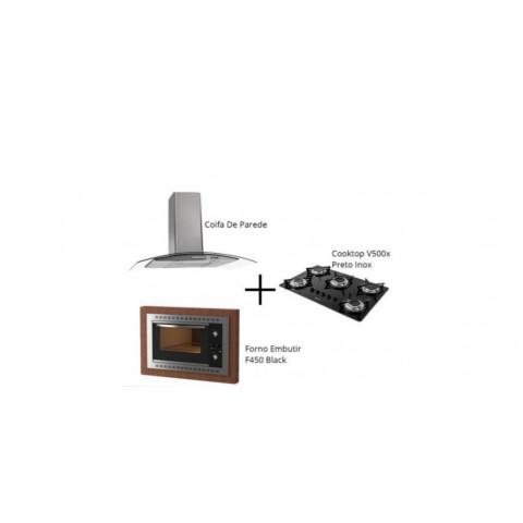 Kit Cozinha 80: 1 Coifa Vidro 80cm + 1 CookTop Vidro 5 Bocas + 1 Forno Elétrico 45Lt Black