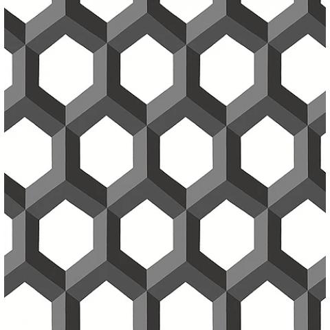 PAPEL DE PAREDE TWIST 10X0.52M GEOMETRICO-3D PRETO 23841  -  401300942