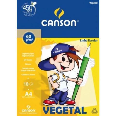 PAPEL ESCOLAR CANSON VEGETAL A4 60G 10F