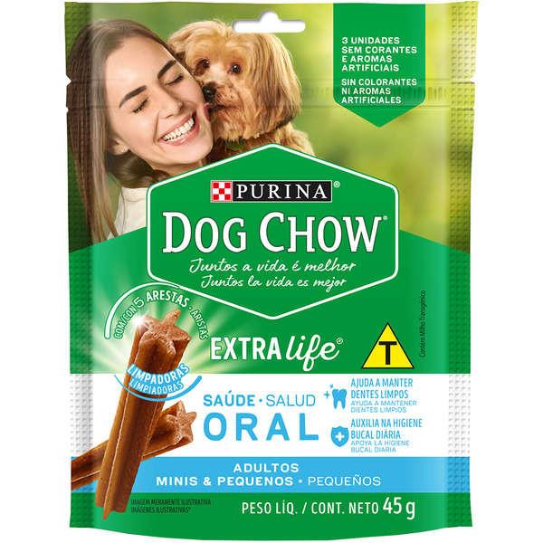 Petisco Dog Chow Oral Extra Life Cães Adultos Raças Minis & Pequenas 45g (3 Unidades)