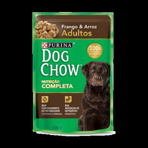 Ração Úmida dog Chow Sachê para Cães Adultos sabor Frango e Arroz 100g