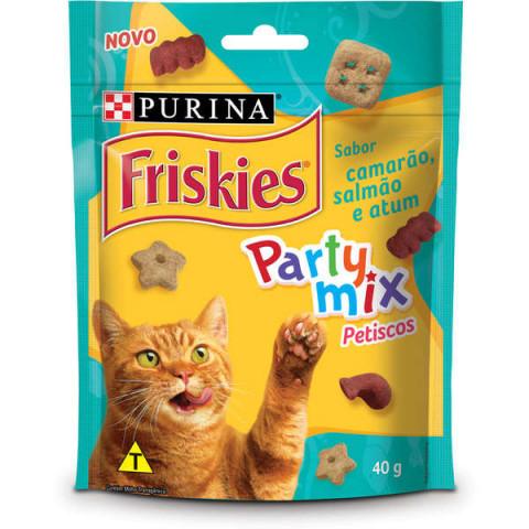 Petisco Nestlé Purina Friskies Party Mix Camarão, Salmão e Atum para Gatos Adultos 40g