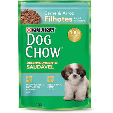 Ração Úmida Nestlé Purina Dog Chow Carne e Arroz para Cães Filhotes Raças Pequenas 100g