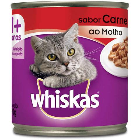Ração Úmida Whiskas Lata Patê de Carne para Gatos Adultos - 290 g