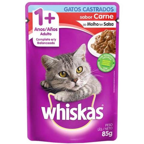 Ração Úmida Whiskas Sachê Carne ao Molho para Gatos Adultos Castrados 85g