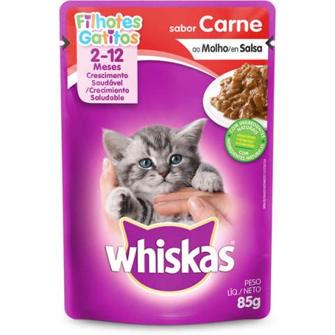 Ração Úmida Whiskas Sachê Carne ao Molho para Gatos Filhotes 85g