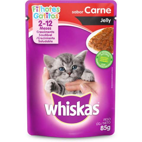 Ração Úmida Whiskas Sachê Carne Jelly para Gatos Filhotes 85g