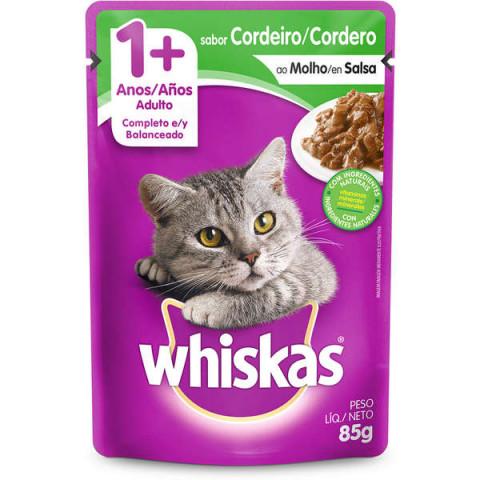 Ração Úmida Whiskas Sachê Cordeiro ao Molho para Gatos Adultos 85g
