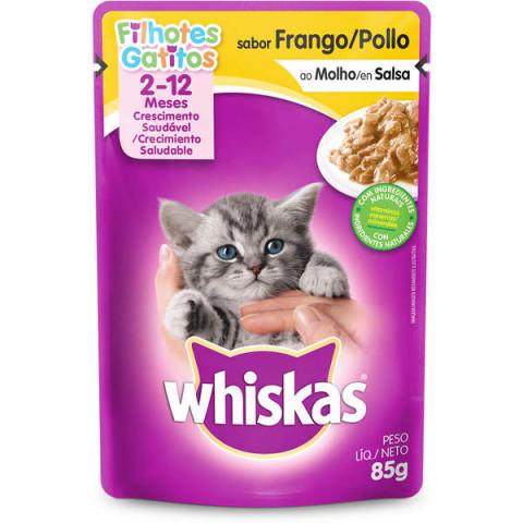 Ração Úmida Whiskas Sachê Frango ao Molho para Gatos Filhotes 85g