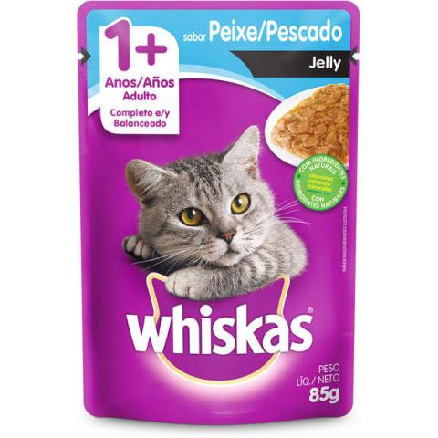 Ração Úmida Whiskas Sachê Peixe Jelly para Gatos Adultos 85g