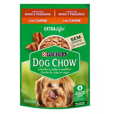 Ração Úmida Dog Chow Sabor Carne para Cães Adultos de Raças Pequenas- 100g