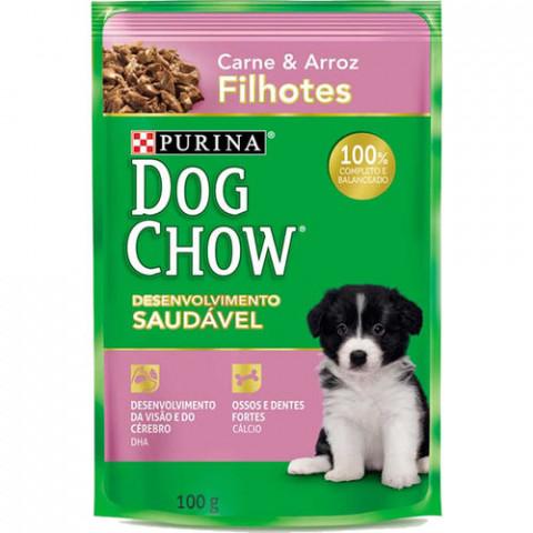 Ração Úmida Dog Chow Sabor Carne para Cães Filhotes - 100g