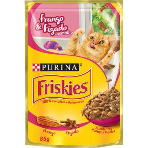 Ração Nestlé Purina Friskies Sachê Frango e Fígado ao Molho para Gatos 85g
