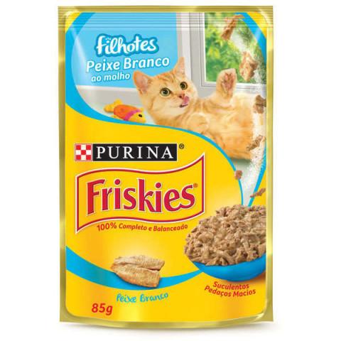 Ração Úmida Nestlé Purina Friskies Sachê Peixe ao Molho para Gatos Filhotes 85g