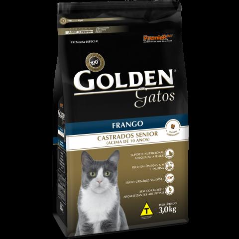 Ração Golden Gatos Castrados Senior Frango 3 KG